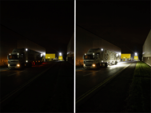 before and after, showing the application of the Banksman light in trucks