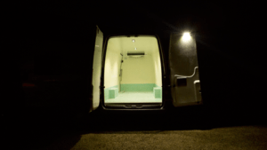 The Hyperlux, waterproof to IP67, used as an efficient lighting solution in a work van